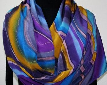 Purple Hand Painted Silk Scarf. Blue, Mustard Handmade Silk Shawl. Handmade Silk Wrap EVENING GLOW. Luxurious ExtraLarge 22x90. Gift-Wrapped
