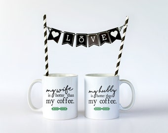 His and Hers, His Hers, His Hers Mugs, Couples Mug, Anniversary Gift, Personalized Mugs, Mug Set, Wedding Gift, Valentines Day, Couples Gift