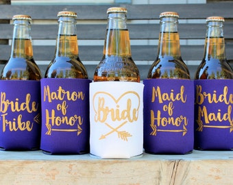 Bride Tribe Can Coolers, Bridesmaid, Maid of Honor, Bridesmaid Proposal Gift, Ask Bridesmaid, Bachelorette Party, Purple and Gold