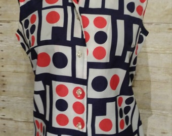 Mod geometric block print blouse top red white and navy blue by Fritzi