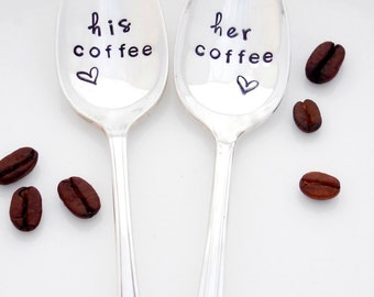 His Coffee, Her Coffee Teaspoons. The ORIGINAL Hand Stamped Vintage Coffee Spoons™ by Sycamore Hill. His and Hers Tea Spoons. Couples Gift
