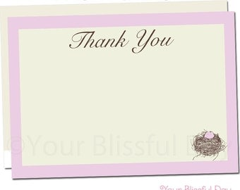 Nest Baby Shower Thank You Cards | Nest Baby Shower Stationery | Nest Baby Shower Thank You Card #208