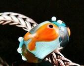 Gold Fish fits Trollbeads  Artisan European Charm Bead BHB SRA