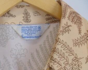 The Fern Shirt, Botanical Woodland Print Long Sleeve, Vintage Size Medium Large