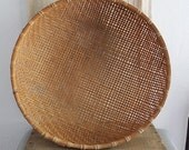Vintage large woven bamboo basket