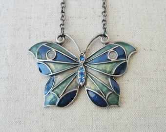 Blue Butterfly Upcycled Long Necklace