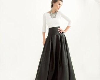 Black Taffeta Skater Skirt Custom Length By Lankkabridal