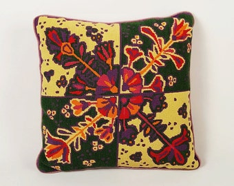 Vintage Psychedelic Needlepoint Pillow