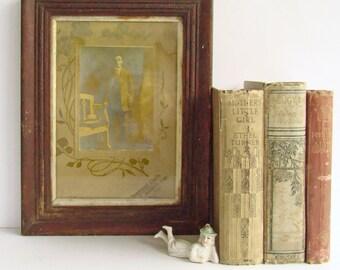 Antique Framed Photograph, 1900s Portrait, Art Nouveau, Edwardian Decor, Sepia Photo, Studio Photography, Old Wood Frame,