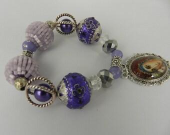 Christian Bracelet  Virgin Mary Child Jesus Glass Tile Pendant Christian Stretch Bracelet Purple Holy Mother Jewelry