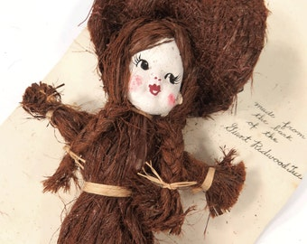 California Redwood Tree Bark Doll - Patented, Rare, Vintage Collectible Doll