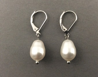 Pearl Earrings With White Swarovski Crystal Teardrop Pearls