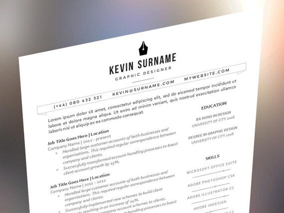 sleek and modern branded resume cv template the kevin