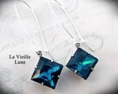 Blue Zircon Jewel Earrings, Victorian Earrings, Victorian Jewelry, Gothic Jewelry