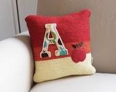 Crochet Pillow Red/Orange/Yellow Apple, Initial, Nursery Pillow, 12 x 12