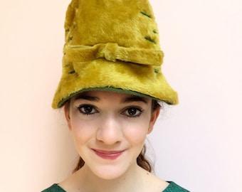 Vintage Hattie Carnegie Hat/1960's Yellow Wool Felt Hat/Miss Carnegie/Mod Yellow Hat