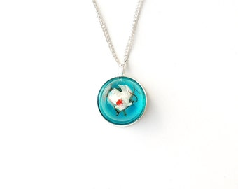Fish Necklace, Whimsical Jewelry, White Fish Swimming in Blue Resin Water Pendant, Resin Jewelry, Fish Jewelry, Diorama Jewelry, UK (143)