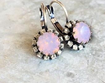 Delicate Wedding Earrings - Halo Set Jewelry - Pink Opal Jewelry - Dainty Crystal Earrings - Pastel Pink Wedding - Opal Bridesmaid Jewelry