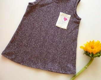 Little Girl's Organic Cotton + Hemp Knit Jumper With Heart Detail Pocket -- Sizes: 2t, 4t, 6