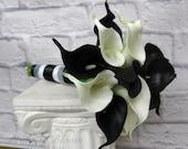Calla lily Wedding bouquet Bridesmaid bouquet Black white real touch calla lilies