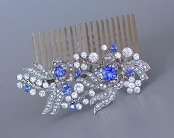 Sapphire Blue Crystal Comb, Blue Bridal Hair Comb, Wedding Hair Clip, Customized Wedding Comb, Deco Crystal Hair Piece, LIZ
