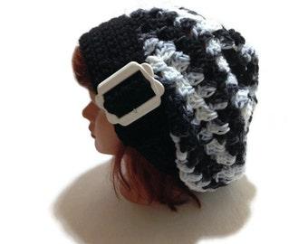 Buckle Tab Hat, Buckle Beret, Black Ombre Tam, Dreadlock Hat, Tam Hat, Oversized Hat, Festival Clothing, Mesh Hat, Vintage White Buckle