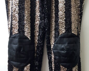 Sequined Leggings with Faux Leather Knees - Medium