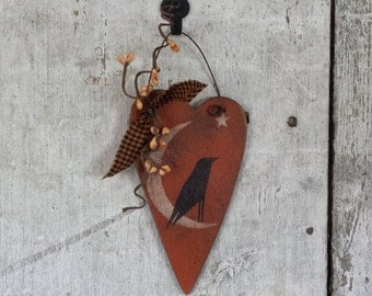 Primitive Fall Decor, Crow, Heart, Wood, Rustic Fall Decor, Country Fall Decor, Rustic Decor, Primitive Decor, Country Decor, Pip Berries