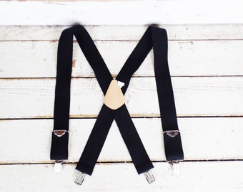 Vintage wide black stretch clip suspenders/black braces/lumberjack suspenders