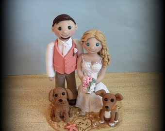 Wedding Cake Topper, Custom Bride and Groom with Two Pets, Dog, Cat, Personalized, Polymer Clay, Beach Theme Wedding or Anniversary Keepsake