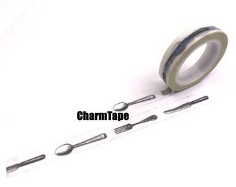 Cutlery Washi tape (1 roll - 10mm x 10m) WT966