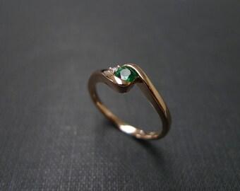 Emerald Ring / Emerald Engagement Ring / Emerald cut engagement Ring / Emerald Jewelry / Engagement Gift / 14K Rose Gold Engagement Ring