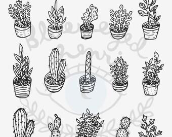 Cactus Clip Art - set of 15 plants