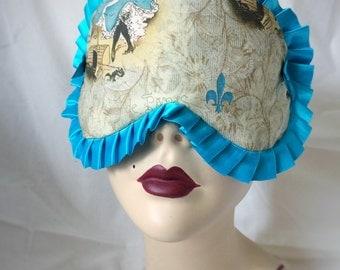 Ready to ship - Cotton Sleepmask Paris dancing girls teal trim Pinup Burlesque by Love Me Sugar