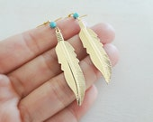 Gold Feather Earrings. Long Dangle Feathers. Turquoise Blue Howlite Gemstone Jewelry. Boho Bohemian Nature Inspired