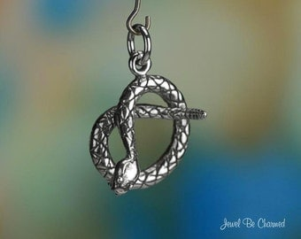 Sterling Silver Coiled Rattlesnake Charm Snake Reptile 3D Solid .925