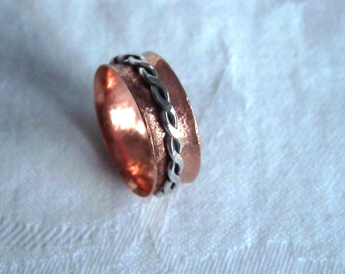 Unisex Spinner Wide Band Ring Eco Friendly Copper Silver Braid Ring Handmade