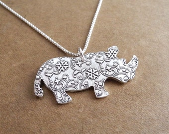 Rhino Necklace, Vine Rhino Necklace, Fine Silver, Sterling Silver Chain, Made To Order