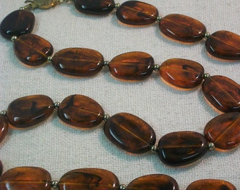 Vintage Lucite Acrylic Amber Extra Long Beaded Necklace