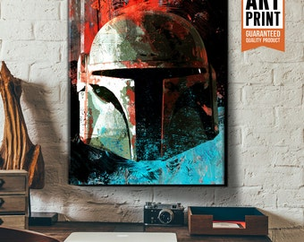 Star Wars Canvas - Boba Fett - Star Wars art, Large Canvas Wall Art, boba fett helmet, fan art illustration, Star Wars gift for him.
