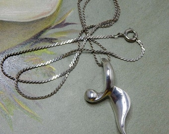 Early CHARLES KRYPELL Sterling Silver Abstract Figural Pendant Necklace