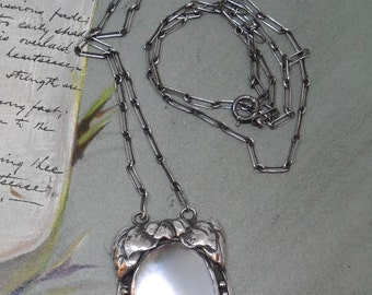 Antique Mobé Pearl Pendant in Sterling Leaf Setting w/ Chain    NM25