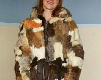 70s Calico Rabbit Fur Hooded Coat SM/MED