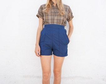 Shorts High Waist Blue Cotton Sz. 26
