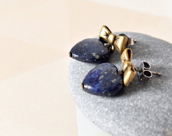 Blue Gemstone Earrings,  Lapis Lazuli, Heart Earrings, Blue Stone Earrings, Hypoallergenic, Bow Post Earrings, Gift for Her, UK Earrings