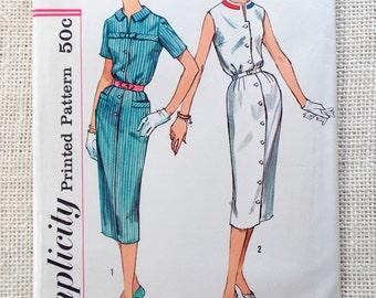 Vintage Pattern Simplicity 2579 button down shirtwaist dress 1950s Bust 32 Rockabilly Retro blouson notch collar