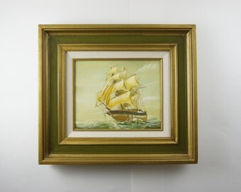 Original Oil Painting Nautical Clipper Ship - Signed & Framed 17x15 - Home Galleries, Inc