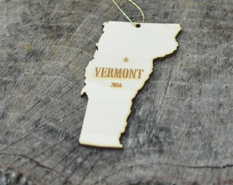Natural Wood Vermont State Ornament WITH 2016