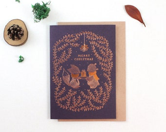 Christmas Card - Merry Christmas - Copper Foil Greeting Card