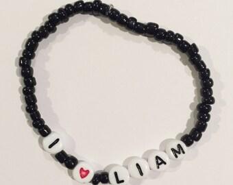 Choose Your Color! I HEART LIAM Beaded Bracelet